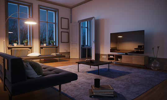 Villa「Scandinavian Style Living Room Interior」:スマホ壁紙(1)