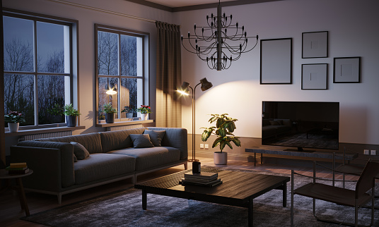 Electric Lamp「Scandinavian Style Living Room In The Evening」:スマホ壁紙(4)
