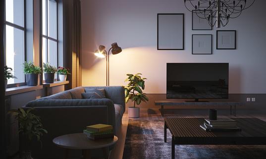 Light - Natural Phenomenon「Scandinavian Style Living Room In The Evening」:スマホ壁紙(17)