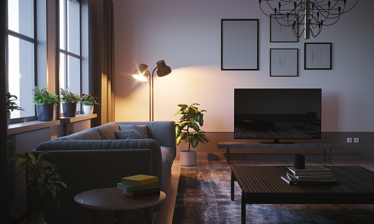 Television Set「Scandinavian Style Living Room In The Evening」:スマホ壁紙(14)