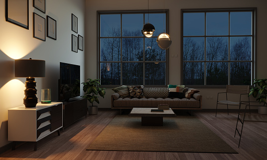 Villa「Scandinavian Style Living Room In The Evening」:スマホ壁紙(3)