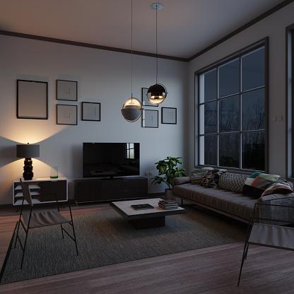 夜景「夜のスカンジナビアスタイルのリビングルーム」:スマホ壁紙(10)