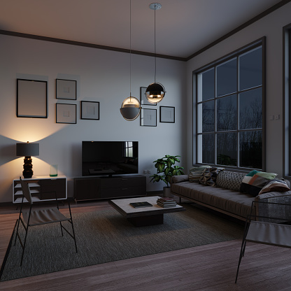 Illustration「Scandinavian Style Living Room In The Evening」:スマホ壁紙(19)