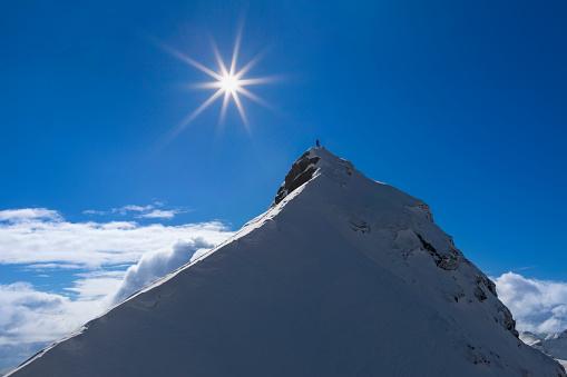 Ski Pole「Lone ski climber on the summit  - Mount Pilan - Lofoten」:スマホ壁紙(18)