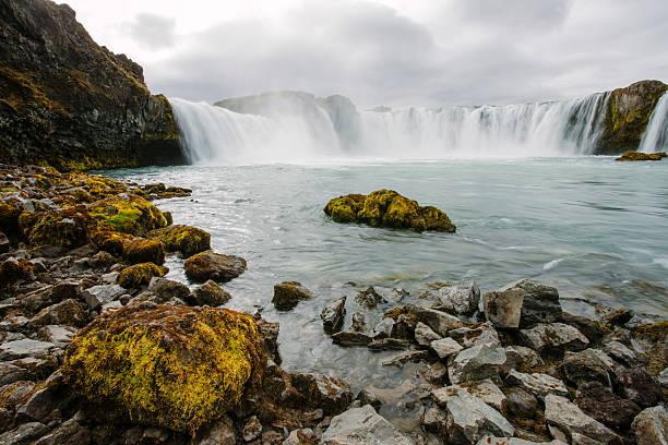Goðafoss waterfall in summer River Skjálfandafljót, Iceland, long exposure:スマホ壁紙(壁紙.com)