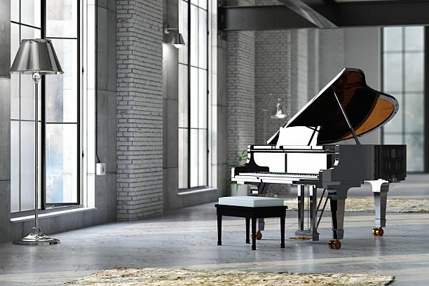 Sleek black grand piano in well lit room:スマホ壁紙(壁紙.com)