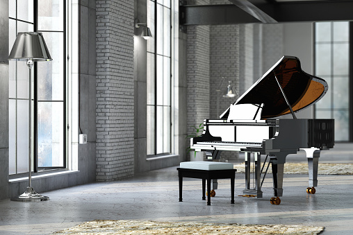 Domestic Room「Sleek black grand piano in well lit room」:スマホ壁紙(18)