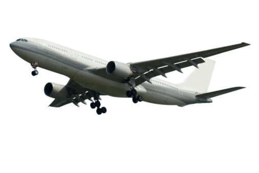 Business Travel「Airplanes Flying Isolated on White, Side View」:スマホ壁紙(11)
