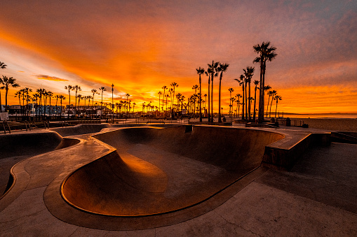 Skateboard「Venice Beach skate park shot at golden hour, Los Angeles, California」:スマホ壁紙(11)