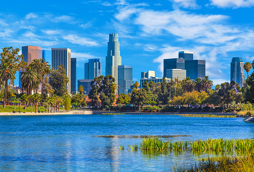 City Of Los Angeles「Cityscape with skyscrapers of Los Angeles skyline, CA」:スマホ壁紙(1)