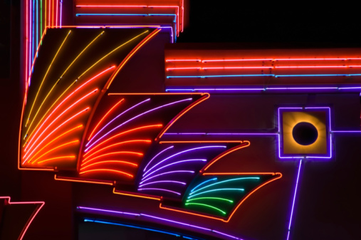 Fan Shape「Neon Abstract Shapes At Night, Black Background」:スマホ壁紙(13)
