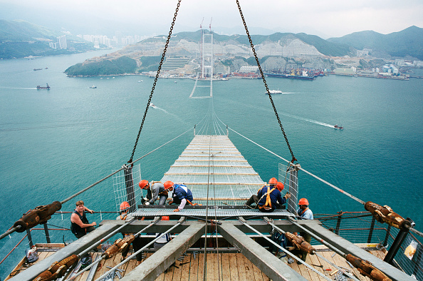 Teamwork「Fixing the working platform walkway high catwalk between strung cables for the main cable spinning later - Tsing Ma suspension bridge Hong Kong to Lantau」:写真・画像(16)[壁紙.com]