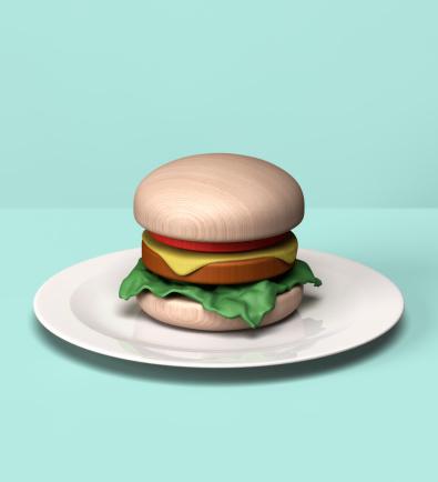 Burger「Burger made out of wooden block」:スマホ壁紙(18)