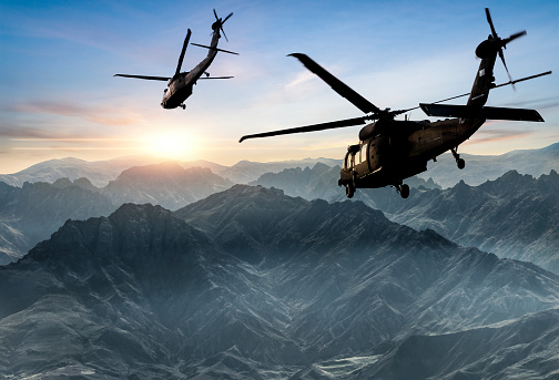 Helicopter「Military Helicopters flying against sunset」:スマホ壁紙(9)