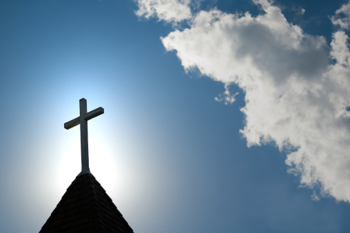 Religious Equipment「Easter morning with the sun behind a church steepl cross.」:スマホ壁紙(15)