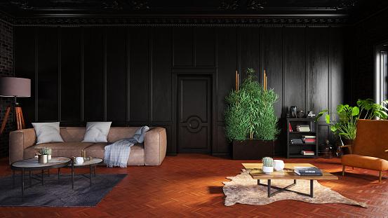 Parquet Floor「Classical Black Living Room」:スマホ壁紙(15)
