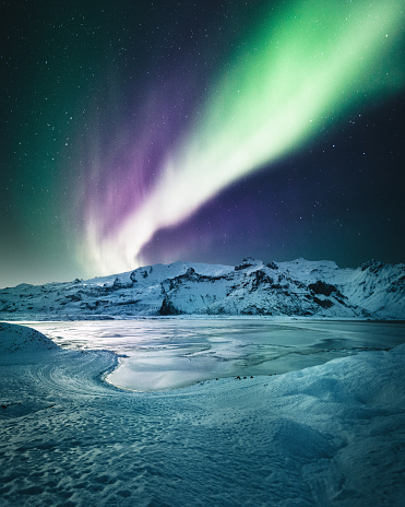 Crystal of snow「aurora borealis in iceland at jakulsarlon」:スマホ壁紙(9)