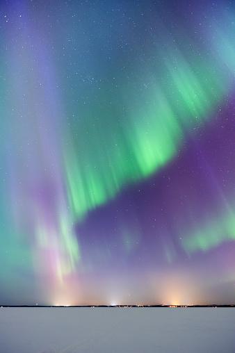 star sky「Aurora Borealis, Northern Lights, above frozen lake」:スマホ壁紙(2)