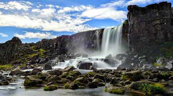 Tectonic「Öxarárfoss waterfall in Thingvellir National Park, Iceland.」:スマホ壁紙(7)