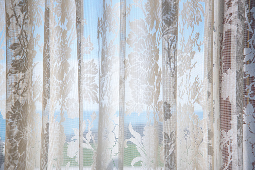 Floral Pattern「Lace Curtain, Blue Sea」:スマホ壁紙(16)