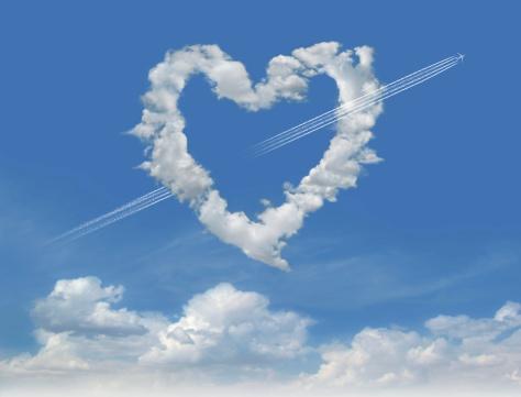 ハート「雲の Love 3」:スマホ壁紙(18)