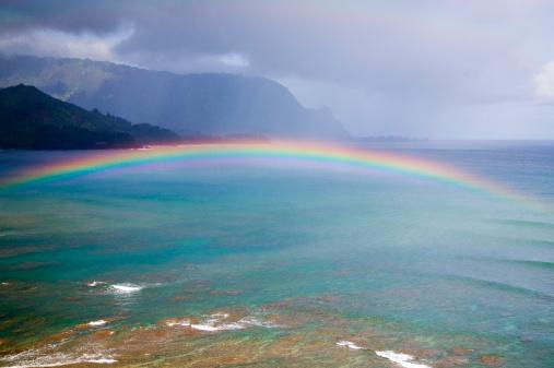 虹「Rainbow over bay」:スマホ壁紙(8)