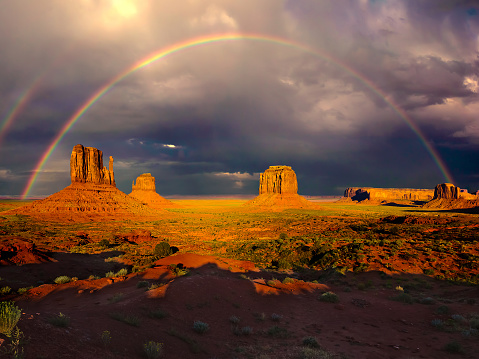 Double Rainbow「Rainbow over monument valley, Arizona, America, USA」:スマホ壁紙(8)
