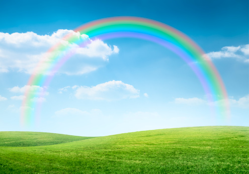 Fun「Rainbow over idyllic hilly landscape」:スマホ壁紙(11)