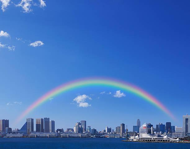 Rainbow over Tokyo skyline, Japan:スマホ壁紙(壁紙.com)