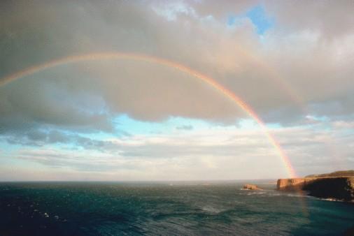 Double Rainbow「Rainbow over ocean」:スマホ壁紙(6)