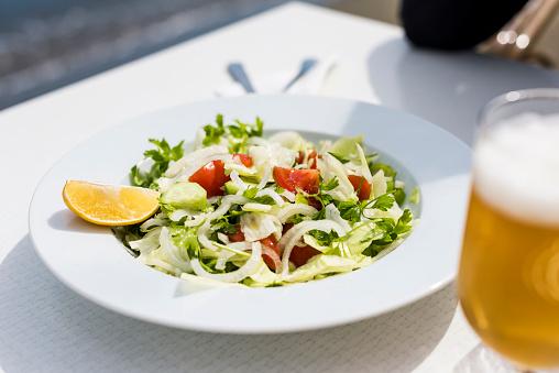 Salad「Turkish Salad on the White Plate, Beer on Side」:スマホ壁紙(0)