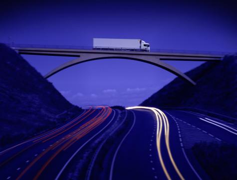 Road Marking「Lorry crossing bridge above motorway, dusk (Digital Composite)」:スマホ壁紙(19)