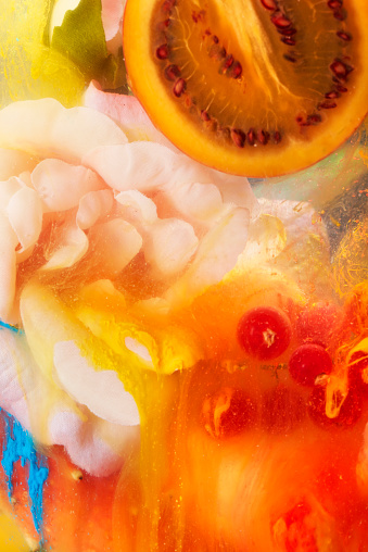 Cross Section「fruit, flowers and paint in water」:スマホ壁紙(8)