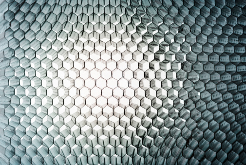 Hexagon「Honeycomb panel close-up, abstract texture with light」:スマホ壁紙(16)