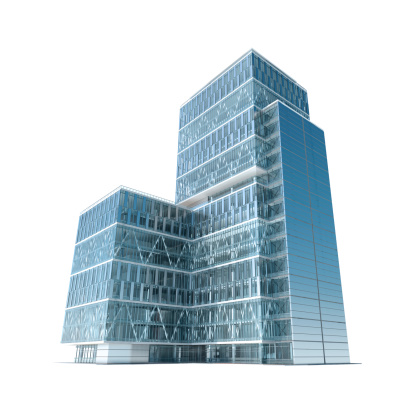 Glass - Material「Successful business: modern corporate office building with clipping path」:スマホ壁紙(12)