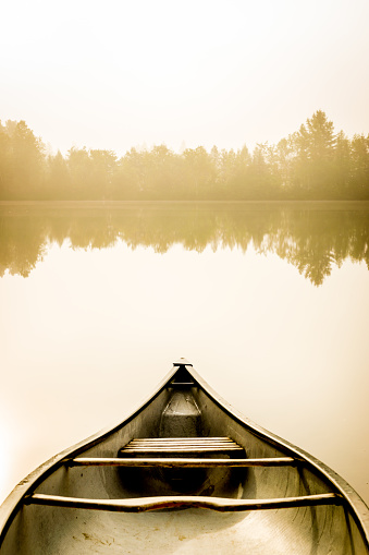 Chalet「Peaceful fishing lake and canoe at sunrise.」:スマホ壁紙(6)