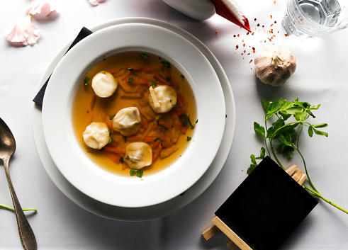 Broth「Meat broth with parsley in bowl」:スマホ壁紙(8)