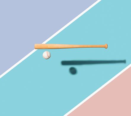 Blue Background「Baseball bat and Baseball Ball」:スマホ壁紙(2)