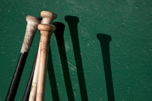Pennsylvania「Baseball bats making shadows on dugout wall.」:スマホ壁紙(13)