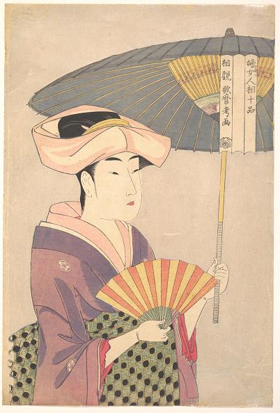 日本文化「Woman Holding Up a Parasol, from the series Ten Types in the Physiognomic Study of Women, c」:写真・画像(9)[壁紙.com]