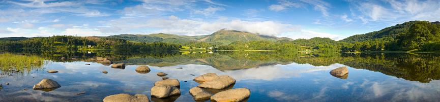 スコットランド文化「穏やかな湖、山の眺め」:スマホ壁紙(9)