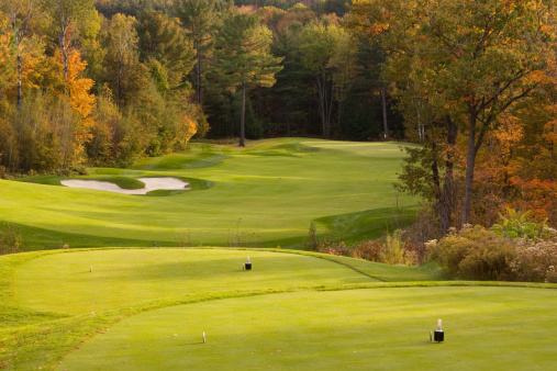 秋「美しいゴルフコースのグリーンと砂の地中」:スマホ壁紙(8)