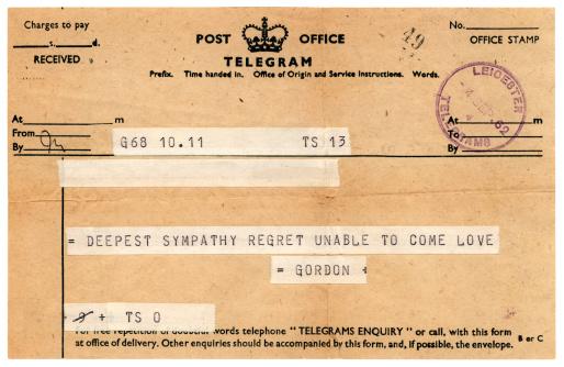 Letter - Document「Sympathetic British telegram 1962」:スマホ壁紙(3)