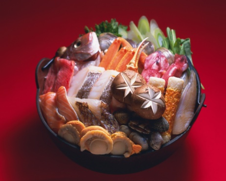 Pollock - Fish「Uncooked vegetable and seafood in pot, high angle view, red background」:スマホ壁紙(18)