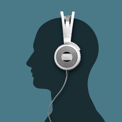 Side View「A headphone and a silhouette head」:スマホ壁紙(1)