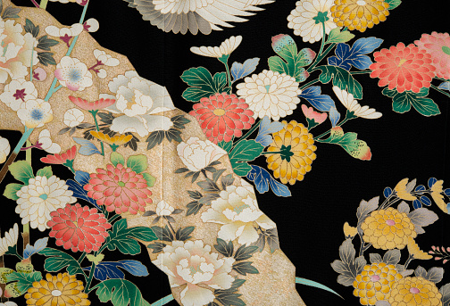 Embroidery「The Japanese Kimono, close up」:スマホ壁紙(1)