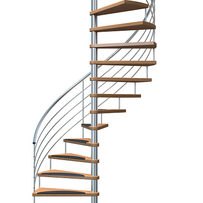 Steps and Staircases「Metallic and wooden stairway over a white background」:スマホ壁紙(11)