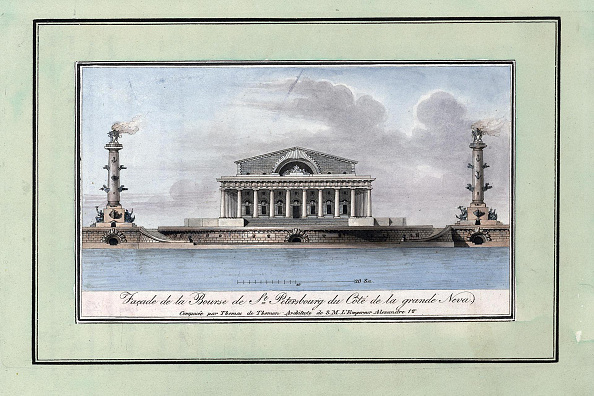 Etching「Facade Of The Stock Exchange Building On The Spit Of Vasilyevsky Island, With Two Rostral Columns」:写真・画像(16)[壁紙.com]