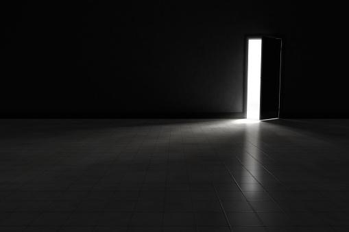 Spooky「Door to dark room with bright light.  Background Illustration.」:スマホ壁紙(4)