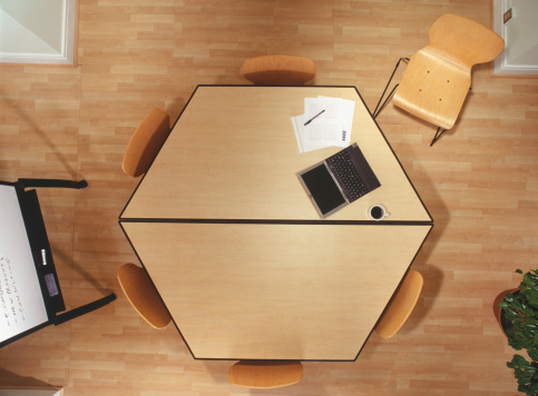 Hexagon「Hexagonal conference table in office, overhead view」:スマホ壁紙(5)